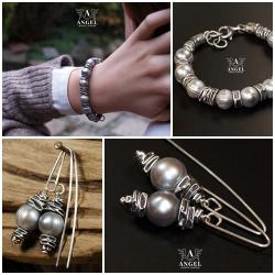 bransoleta z pereł słodkowodnych,surowa biżuteria - Kolczyki - Biżuteria