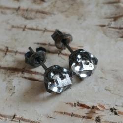HERKIMER,kolczyki srebrne,kryształy,oksyda,srebro - Kolczyki - Biżuteria