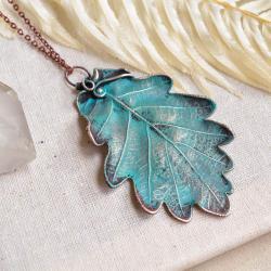 wisior liść,naszyjnik z miedzi,liść dębu,prezent - Naszyjniki - Biżuteria