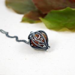 srebrny wisior z cytrynem,prezent dla niej - Naszyjniki - Biżuteria