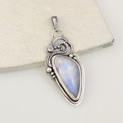 wisior,kamień księżycowy,retro,elegancki - Wisiory - Biżuteria