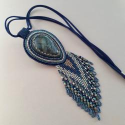 naszyjnik,z labradorytem,haft koralikowy - Naszyjniki - Biżuteria