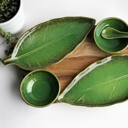 talerz liść,patera liść,zielona,miseczka,floral - Ceramika i szkło - Wyposażenie wnętrz