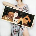 Obrazy Miasto,boho,drewniany obraz,unikat