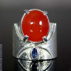 Okazały pierścień z karneolem i tanzanitem - Pierścionki - Biżuteria
