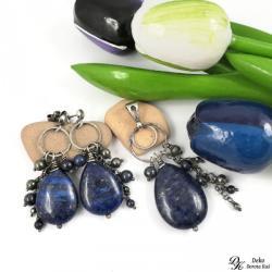 lapis lazuli,piryt,granatowy,złoty,komplet,minerał - Komplety - Biżuteria