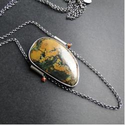 srebro,turkus,granat,etniczny,surowy - Wisiory - Biżuteria