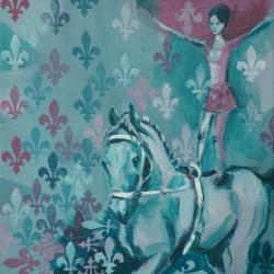 koń,kobieta,akrobatka,zwycięstwo,sen - Obrazy - Wyposażenie wnętrz