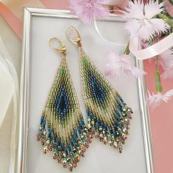Kolczyki BOHO kolorowe Pawie Oczka - Kolczyki - Biżuteria