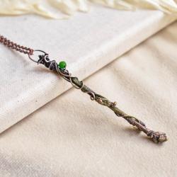 wisior gałązka,biżuteria naturalna,biżuteria miedź - Naszyjniki - Biżuteria