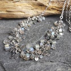 naszyjnik srebrny,naszyjnik z labradorytami - Naszyjniki - Biżuteria