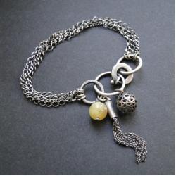srebro,opal,chwost,surowa,oksydowana - Bransoletki - Biżuteria