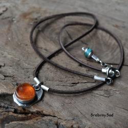 bursztyn w srebrze,naszyjnik z bursztynem,surowe - Naszyjniki - Biżuteria