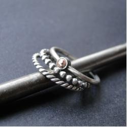 srebro,hematyt,zestaw,delikatny,oksydowane - Pierścionki - Biżuteria