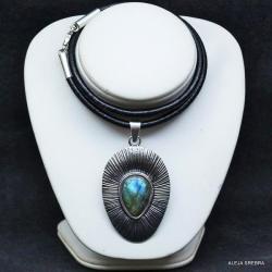 wisior z labradorytem,srebro,biżuteria,labradoryt - Wisiory - Biżuteria