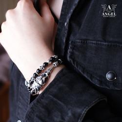 surowa bransoleta z czaszką ptaka w koronie - Bransoletki - Biżuteria