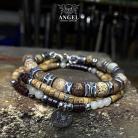 Dla mężczyzn komplet bransolet,surowa biżuteria męska