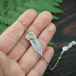 paproć,liść,bransoletka,prezent,delikatna - Bransoletki - Biżuteria