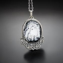 srebrny,wisior,z opalem dendrytowym,zimowy - Naszyjniki - Biżuteria
