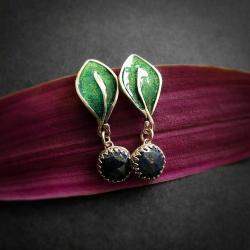 srebrne kolczyki na lato,zielone listki, - Kolczyki - Biżuteria