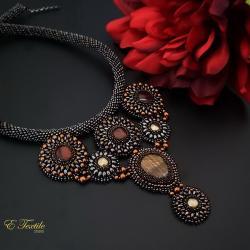 geometryczny,ekskluzywny,haft koralikowy - Naszyjniki - Biżuteria