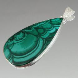 malachit,srebrny,srebro,zielony,blask,kamień,retro - Wisiory - Biżuteria