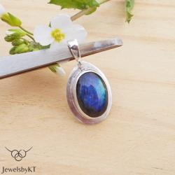 srebro,klasyczna biżuteria,labradoryt,JewelsbyKT - Wisiory - Biżuteria