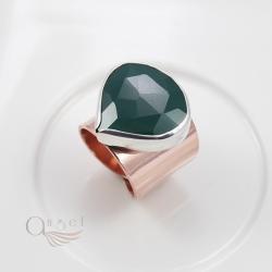 pierścień z onyksem,zielony pierścień - Pierścionki - Biżuteria