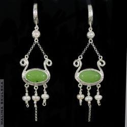 jadeit,perła,kandelabrowe,antyczne,vintage - Kolczyki - Biżuteria