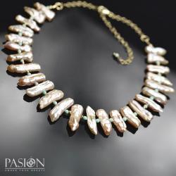 Krótki złocony naszyjnik z Perłami i Opalami - Naszyjniki - Biżuteria