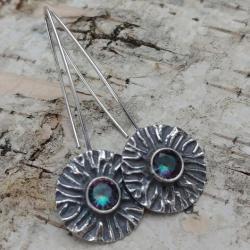 mystic kwarc,srebrne,retro,subtelne,blask,zieleń, - Kolczyki - Biżuteria