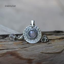 srebrna mandala,kwarc różowy,srebro - Naszyjniki - Biżuteria