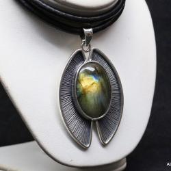 labradoryt,wisiory,srebro,biżuteria - Wisiory - Biżuteria