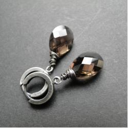 srebro,kwarc,eleganckie,klasyczne,oksydowane - Kolczyki - Biżuteria