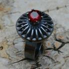 Pierścionki granat,srebrny,szary,bordowy,srebro,mineralny,styl