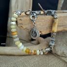 Bransoletki bransoletka z naturalnych kamieni,opal żółty srebr