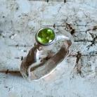 Pierścionki oliwin,srebrny,surowy,zieleń,blask,peridot,retro