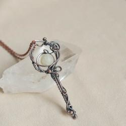 wisior,klucz,miedziany naszyjnik,elficki,retro - Naszyjniki - Biżuteria