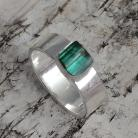Pierścionki turmalin,blask,kwarc,srebrny,srebro,zieleń,minerał