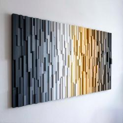 mozaika,drewniany,handmade - Obrazy - Wyposażenie wnętrz