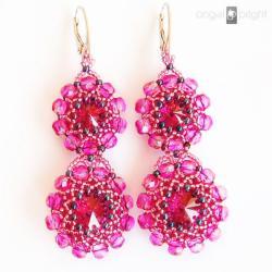 Kolczyki Fuksjowe Kwiaty kryształy srebro - Kolczyki - Biżuteria