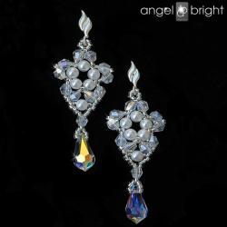Kolczyki kryształowo perłowe kwiaty Swarovski - Kolczyki - Biżuteria