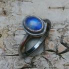 Pierścionki ksieżycowy,księzyc,srebrny,szary,błękitny,retro