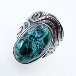 srebrny regulowany pierścionek z chryzokolą - Pierścionki - Biżuteria