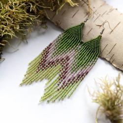 zielone długie kolczyki,kolczyki na lato - Kolczyki - Biżuteria