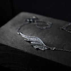 naszyjnik,fantasy,smok,skrzydło,ciemne srebro - Naszyjniki - Biżuteria