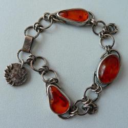 bransoletka boho z bursztynem,srebro oksydowane - Bransoletki - Biżuteria