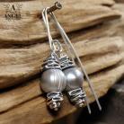 Kolczyki kolczyki z szarych pereł,biżuteria z pereł