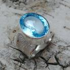 Pierścionki TOPAZ,srebrny,blask,srebro,niebieski,klejnot,retro