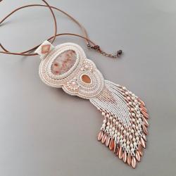 naszyjnik z heliolitem,haft koralikowy - Naszyjniki - Biżuteria